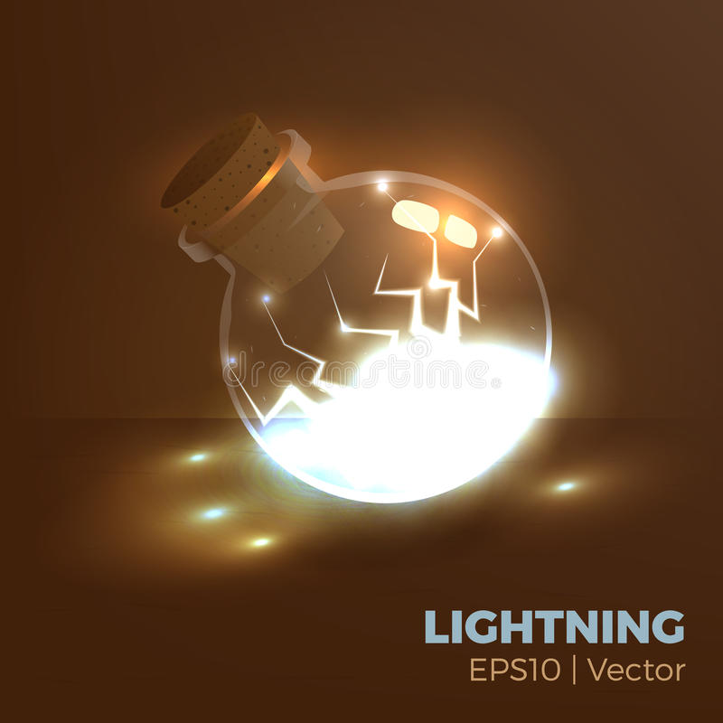 Lightning in bottle. Bottle of energy, magic lightning elixir. Vector illustration of tranparent flask with electricity inside. Game vial icon, interface for rpg vector illustration