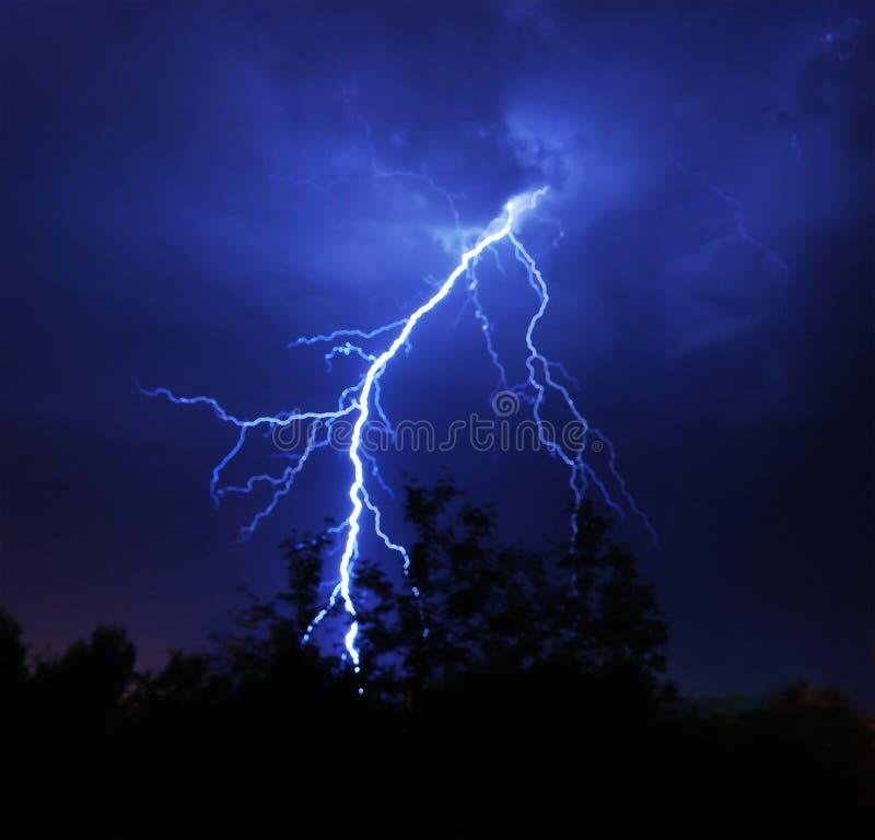 Lightning. Bright lightning in the night sky stock photography