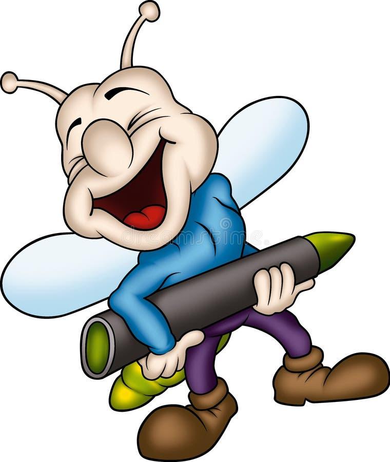 Lightning bug with crayon royalty free illustration