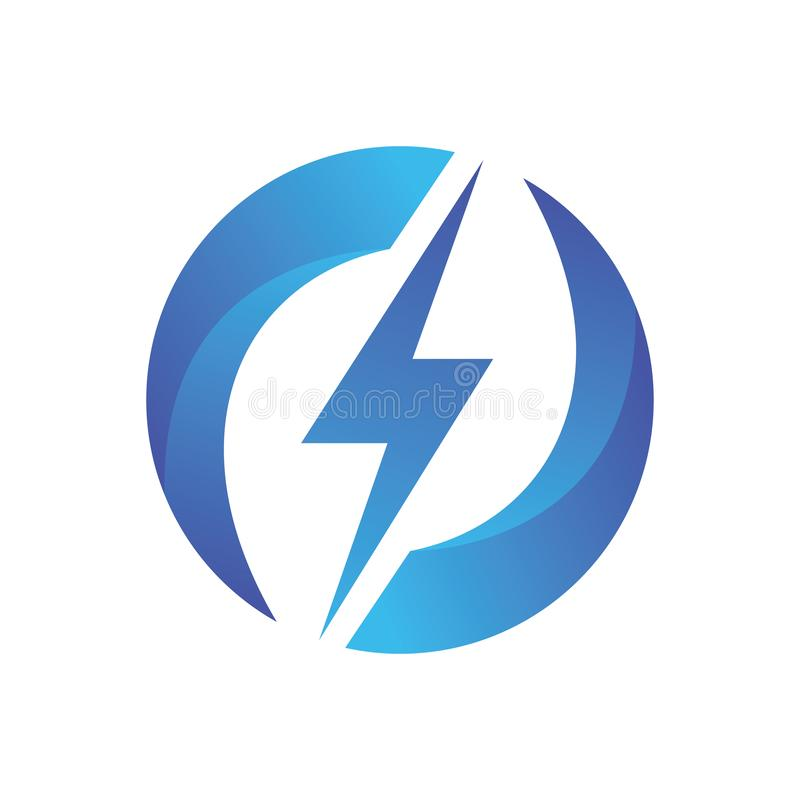 Lightning Circle Recycle Logo Vector stock illustration