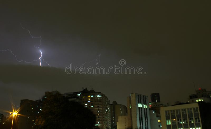 Lightning in the city sky. royalty free stock photography