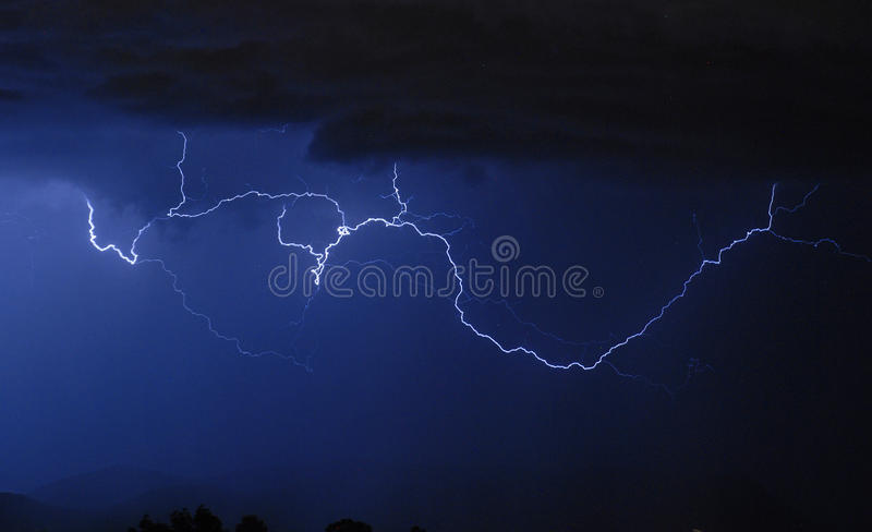 Download Lightning - Cloud to Cloud stock image. Image of front - 15698975