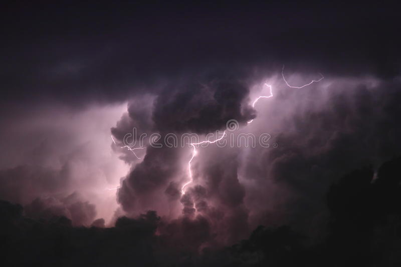 Lightning Through The Clouds Stock Images