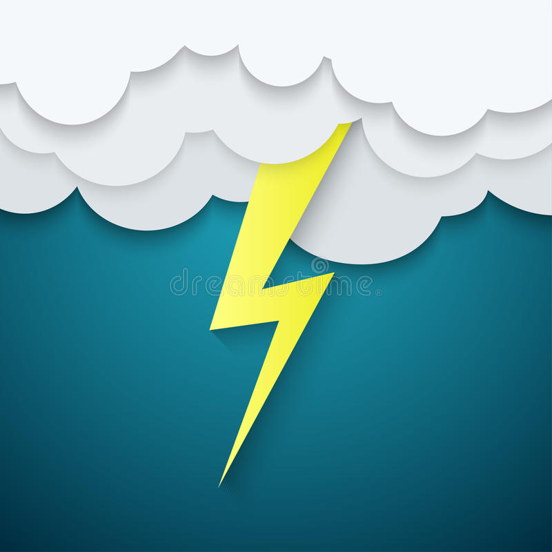Lightning in the clouds on a blue background vector illustration