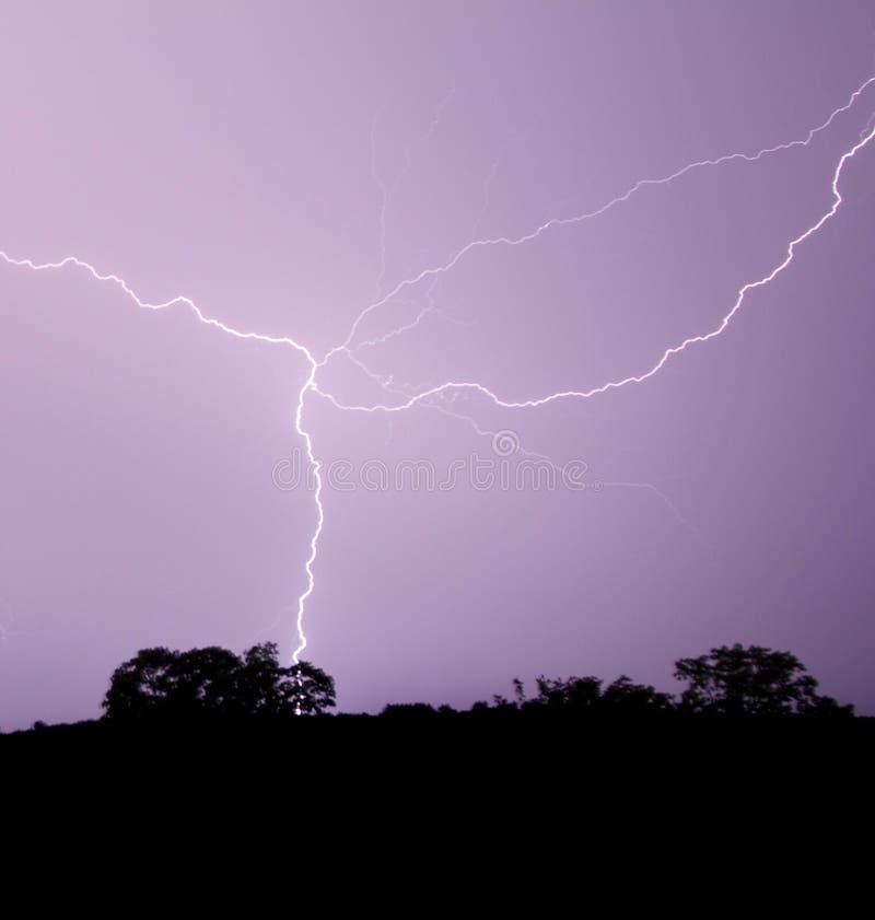 Download Lightning Crosses Purple Sky Stock Image - Image: 25003861