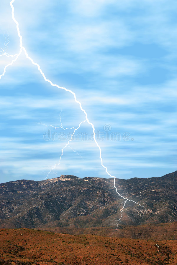 Lightning in the Desert. Lightning striking in the desert mountains. Shot with Canon 20D royalty free stock photos