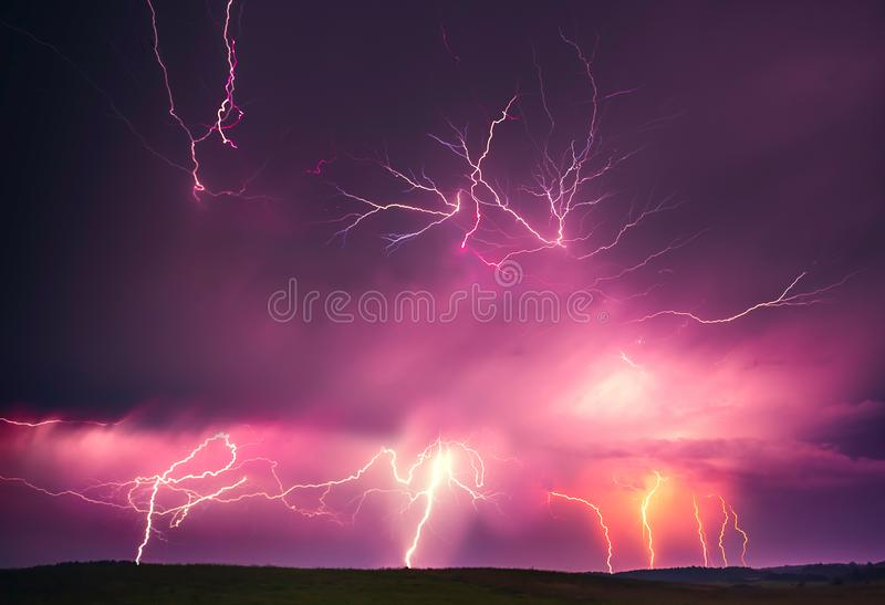 Lightning with dramatic clouds composite image . Night thunder-storm. In Lithuania royalty free stock image