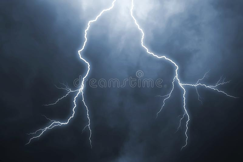 Lightning with dramatic clouds royalty free stock photo