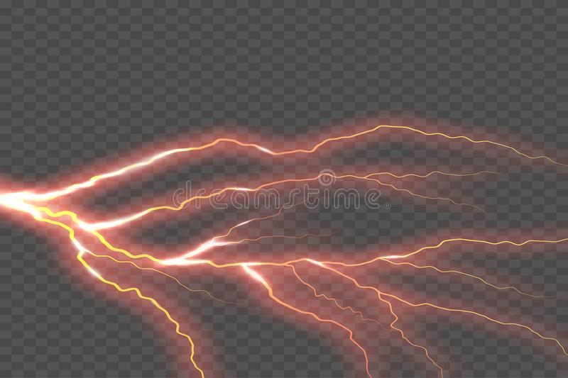 Lightning electric thunder storm light flash. Vector realistic lightning rain weather thunderbolt on checkered. Background. Neon color energy electricity light royalty free illustration