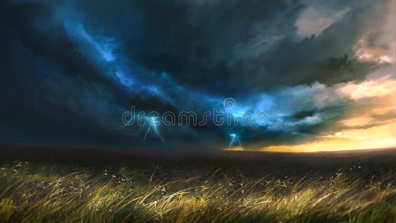 Lightning on the field stock photography