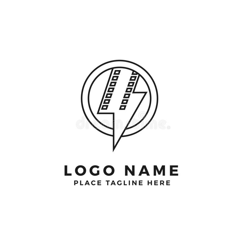 Lightning film strip with circle ring frame logo brand. thunderbolt movie illustration. simple outline style symbol royalty free illustration
