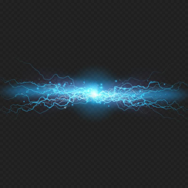 Lightning flash discharge of electricity on transparent background. Blue electrical visual effect. EPS 10 stock illustration