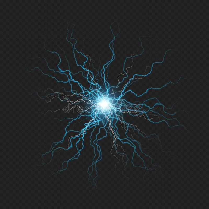 Lightning flash discharge of electricity on transparent background. Blue electrical visual effect. EPS 10. Vector file royalty free illustration