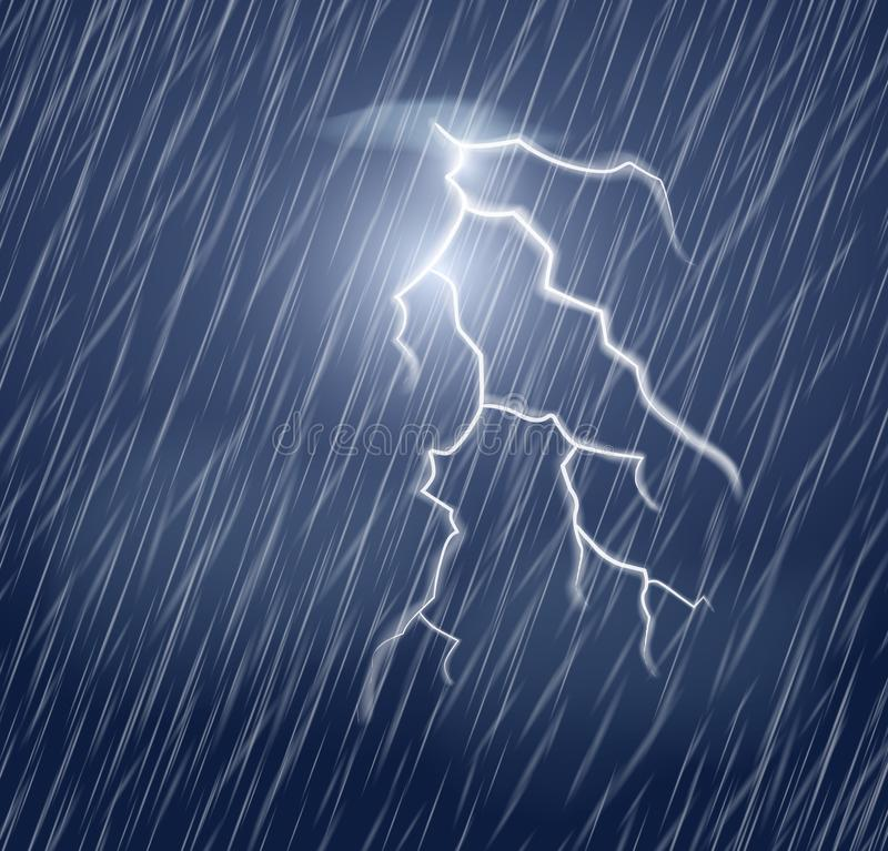 Lightning flash and heavy rain in the dark sky. Realistic vector illustration.Thunderstorm and lightning stock illustration