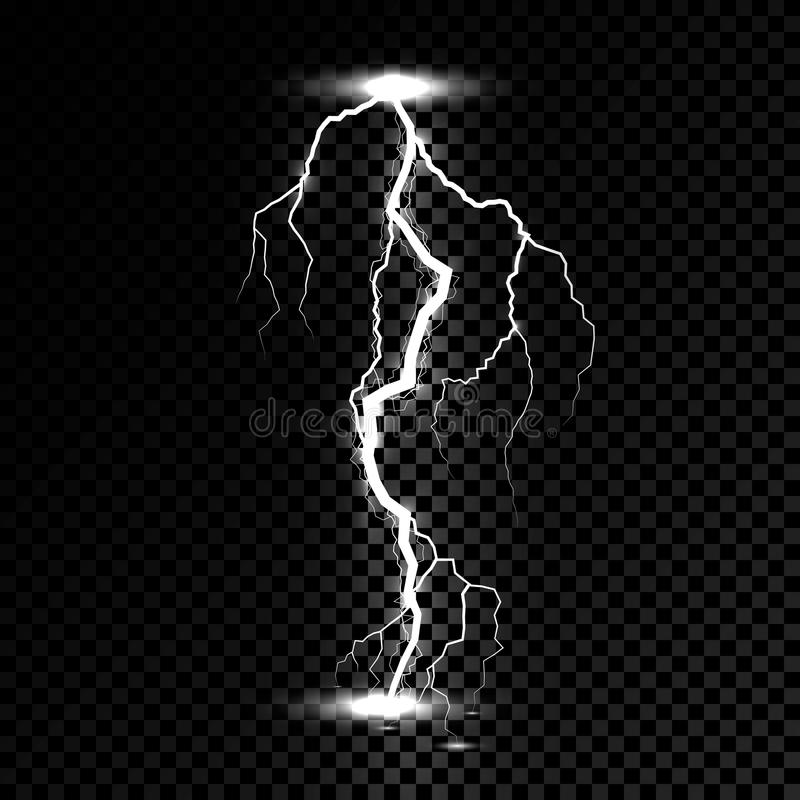 Lightning flash light thunder spark. Vector bolt lightning or electricity blast storm or thunderbolt on transparent background stock illustration