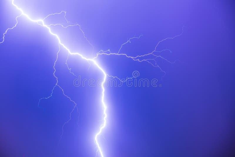 Lightning flash at night stock image