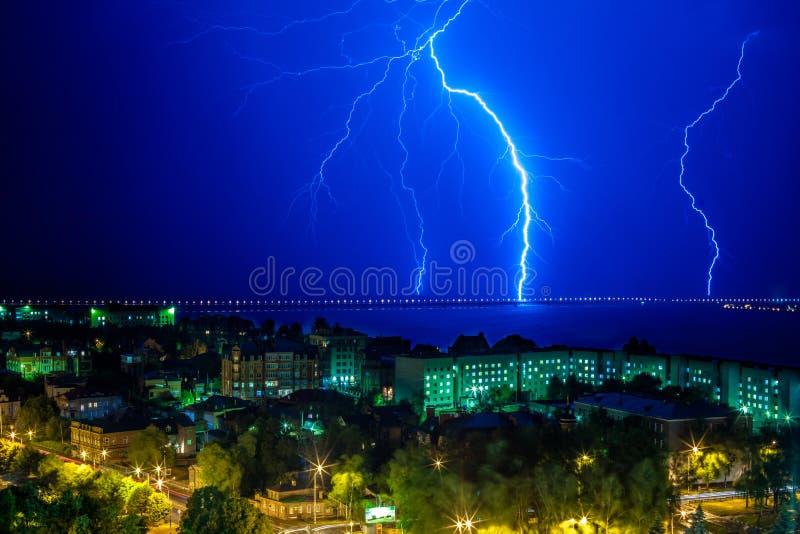 Lightning flashed near the bridge royalty free stock photos