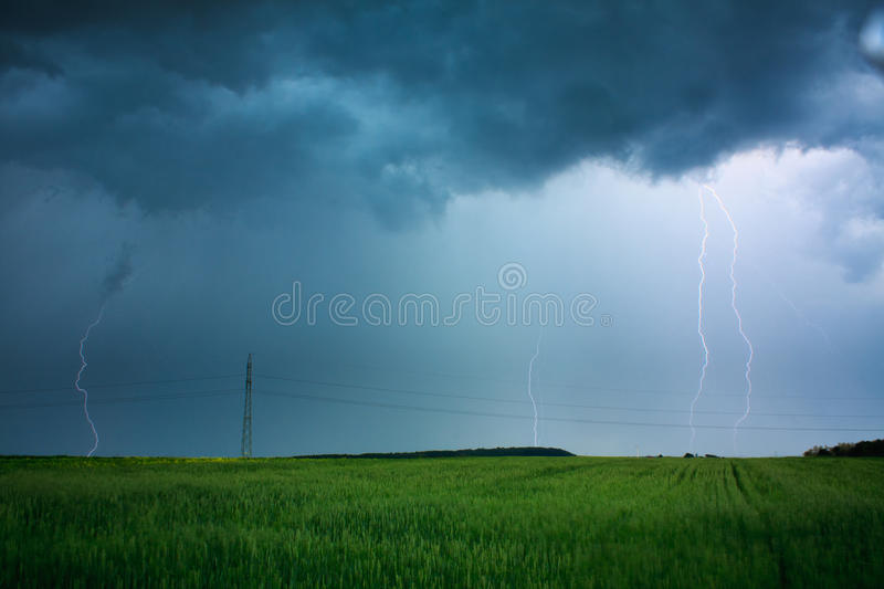 Lightning flashes. Above the filed royalty free stock image