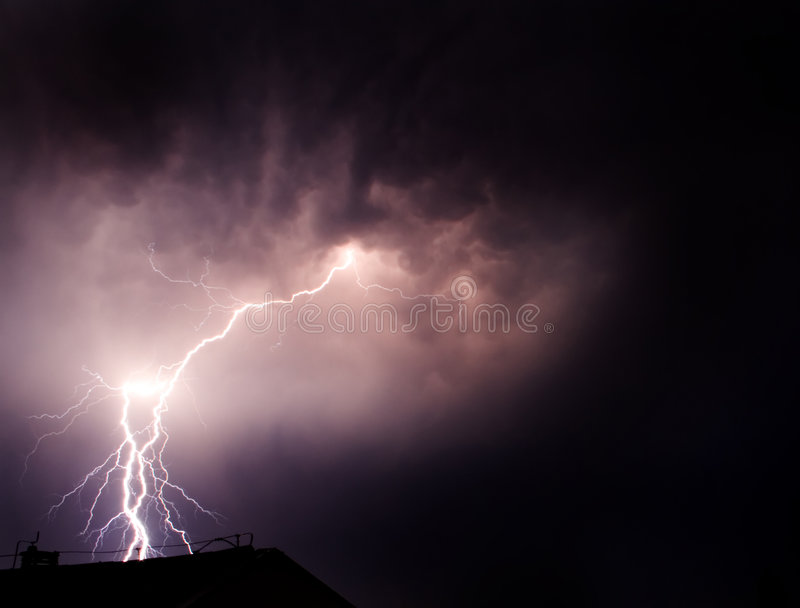 Lightning flashes the darkness. A thunderbolt strike in Macedonia royalty free stock photos