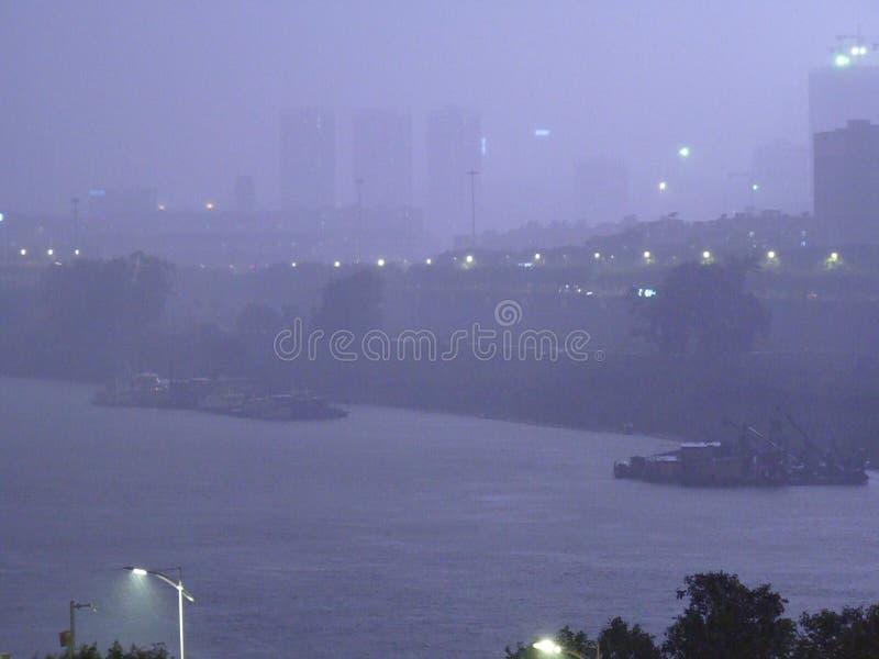 Lightning and heavy rain royalty free stock image