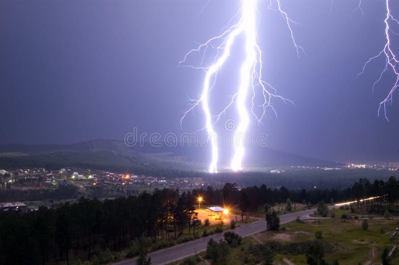Lightning hits ground royalty free stock photography