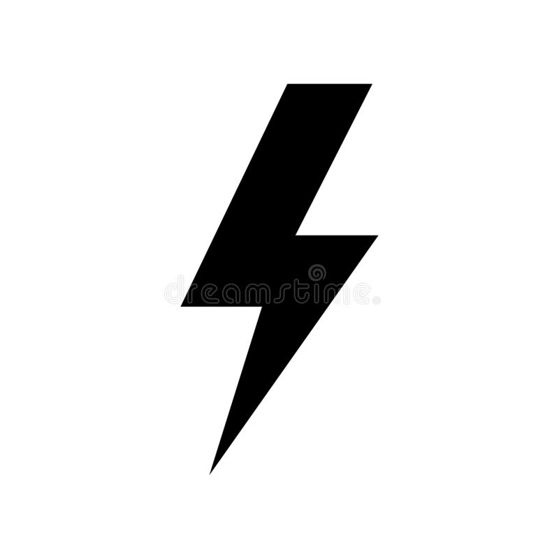 Lightning Icon vector. Simple flat symbol. Perfect Black pictogram illustration on white background.  stock illustration