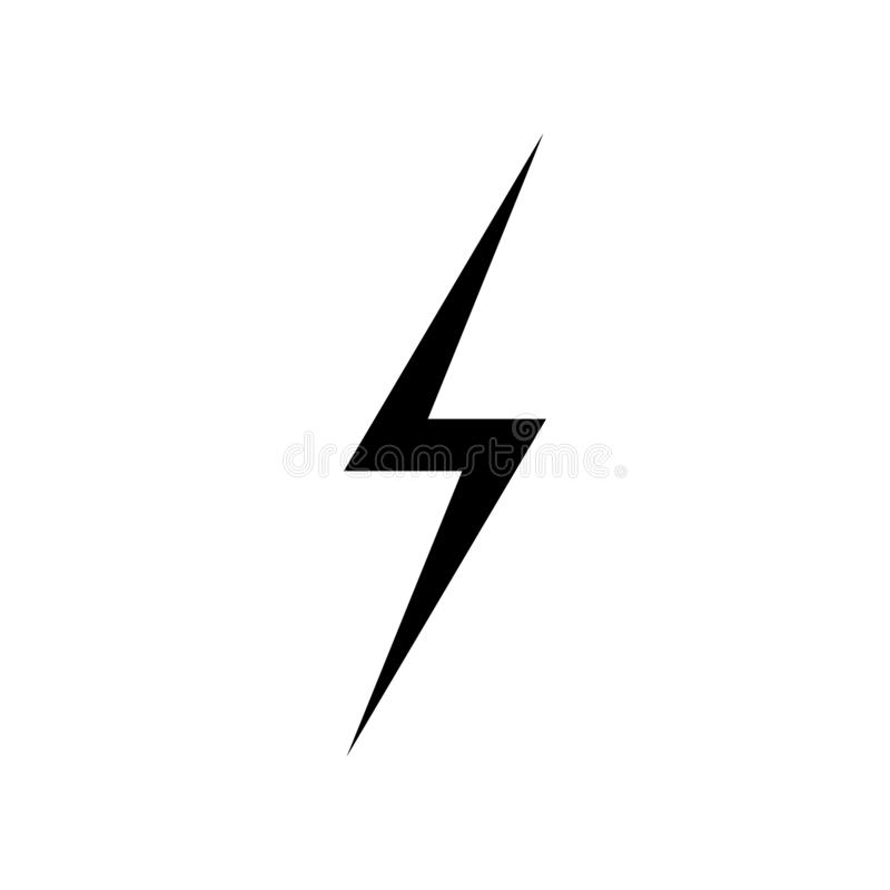 Lightning Icon vector. Simple flat symbol. Perfect Black pictogram illustration on white background stock illustration