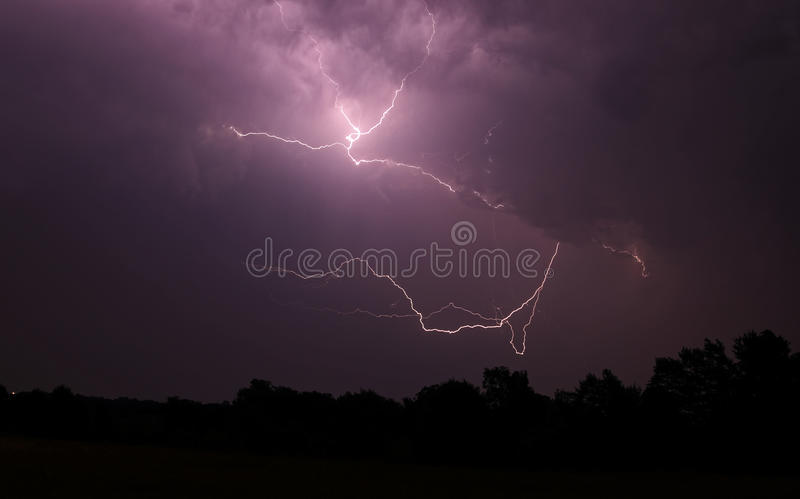 Lightning in July-2. Weird lightning strikes on 07/07/2012 in St. Louis stock images