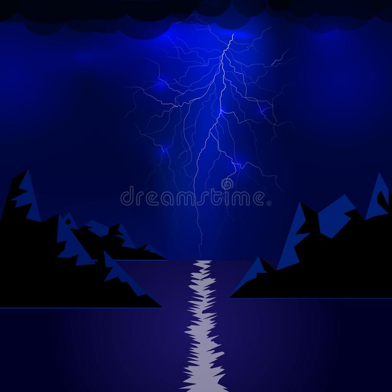 Lightning of mountains and the sea. Vector electric light thunder spark. Blue lightning or magic power blast storm. Lightning flash bolt or thunderbolt isolated stock illustration