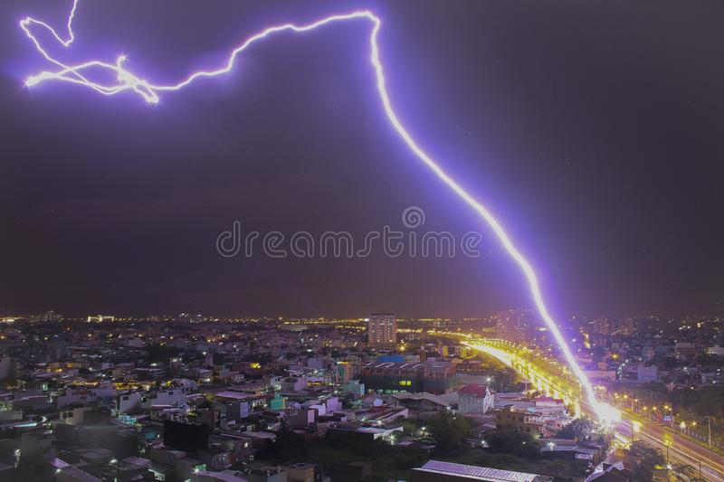 A bolt of lightning across the sky. Lightning is a natural phenomenon, formed by the accumulation of electricity and discharge in the atmosphere between clouds stock images
