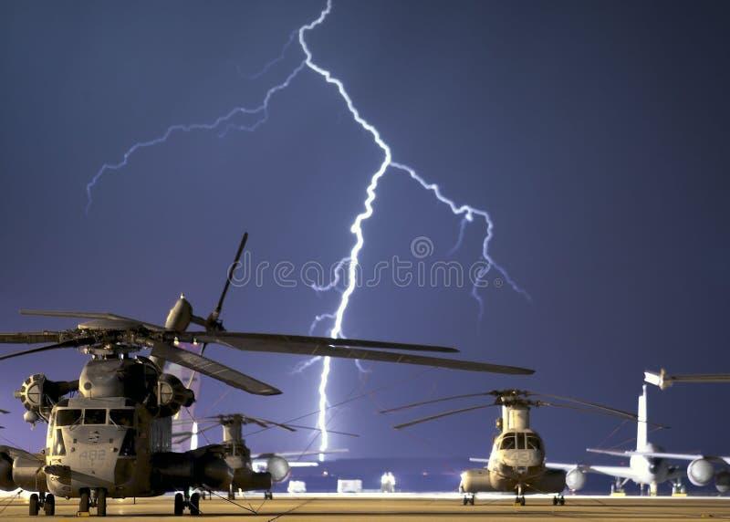 Lightning Near Grey Helicopter During Daytime Free Public Domain Cc0 Image