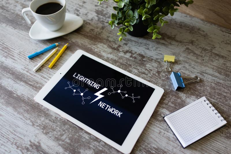 Lightning network, Blockchain and cryptocurrency technology concept. Lightning network, Blockchain and cryptocurrency technology concept royalty free stock photography