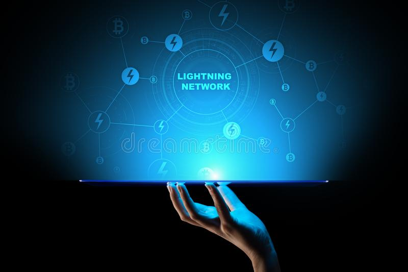 Lightning network communication in cryptocurrency technology. Bitcoin and internet payment concept on virtual screen. Lightning network communication in stock images
