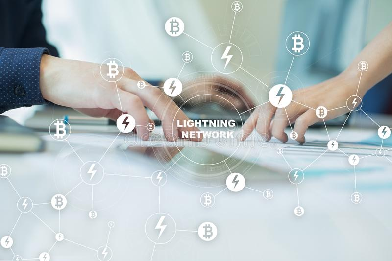 Lightning network - second layer payment protocol that operates on top of a blockchain. Bitcoin, cryptocurrency. Internet payment royalty free stock images