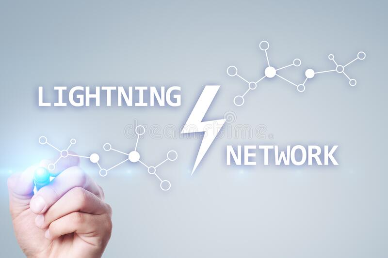 Lightning network - second layer payment protocol that operates on top of a blockchain. Bitcoin, cryptocurrency stock images