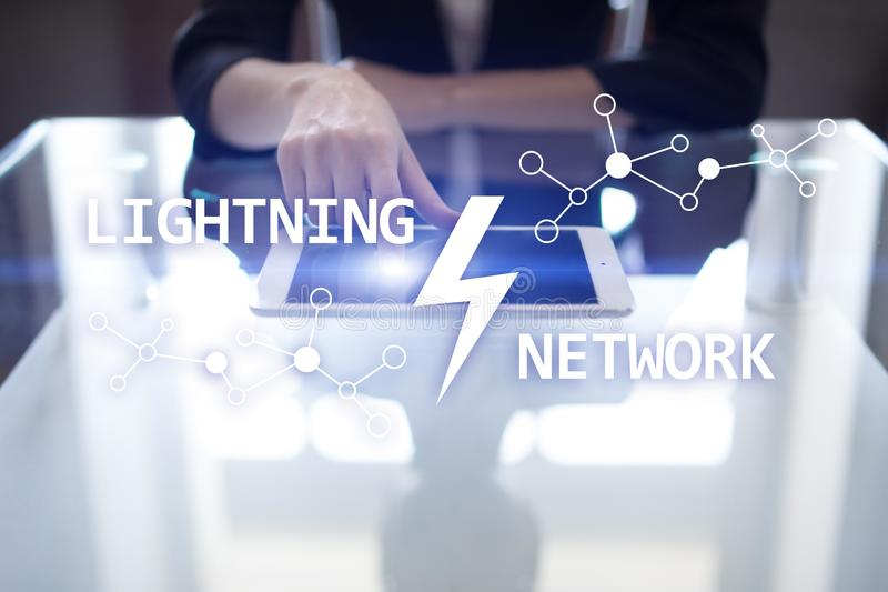 Lightning network - second layer payment protocol that operates on top of a blockchain. Bitcoin, cryptocurrency. Internet payment stock photography