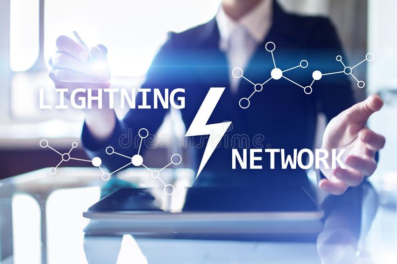 Lightning network - second layer payment protocol that operates on top of a blockchain. Bitcoin, cryptocurrency. Internet payment royalty free stock image