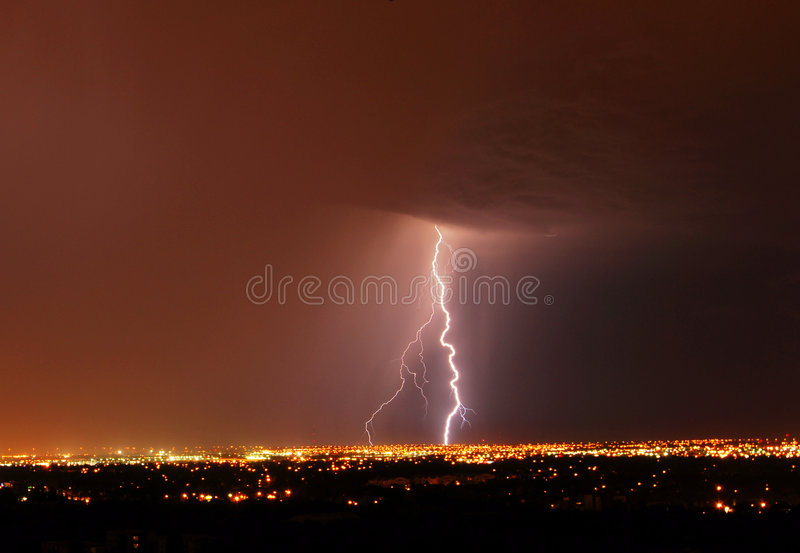 Lightning Night In City Edmonton Stock Photos