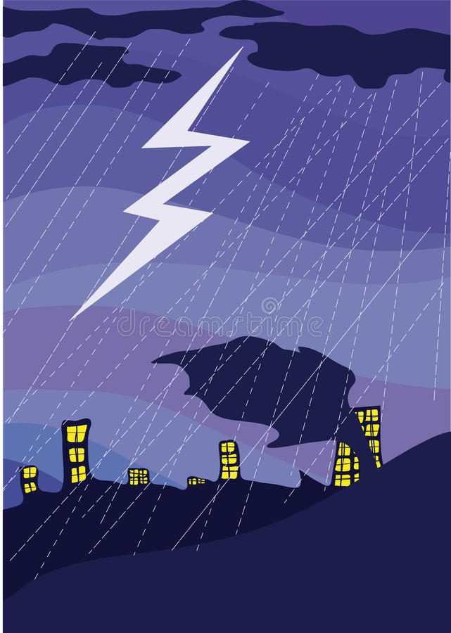 Lightning in the night sky over a city. vector illustration