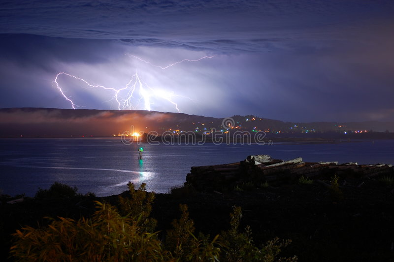Download Lightning over the Bay stock image. Image of abstract - 7195153