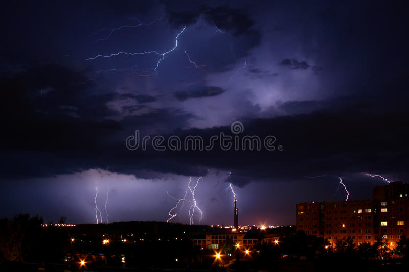 Download Lightning Over The City stock photo. Image of energy - 13197782