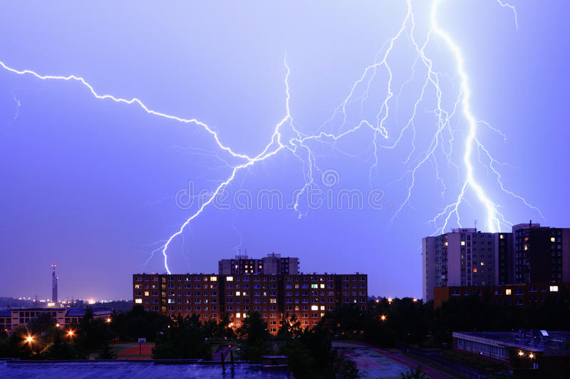Download Lightning Over The City stock photo. Image of clouds - 15256658