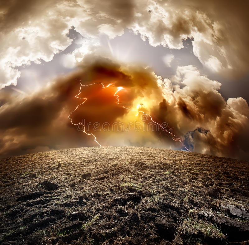Lightning over field royalty free stock images