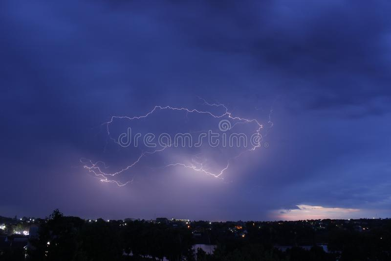 Lightning over night city canon D600 foto de stock