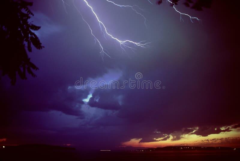 Lightning over Puget Sound stock photography