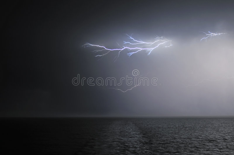 Download Lightning over the sea stock photo. Image of flash, lightning - 6477116