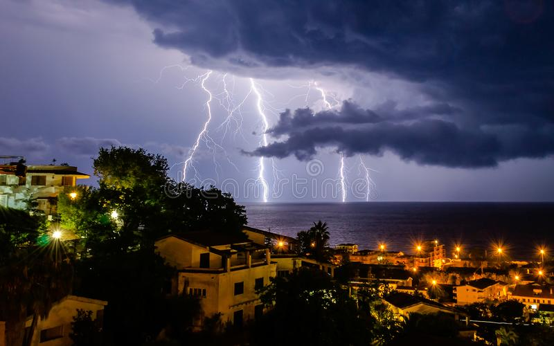 Download Lightning over the sea stock image. Image of energy - 117598549
