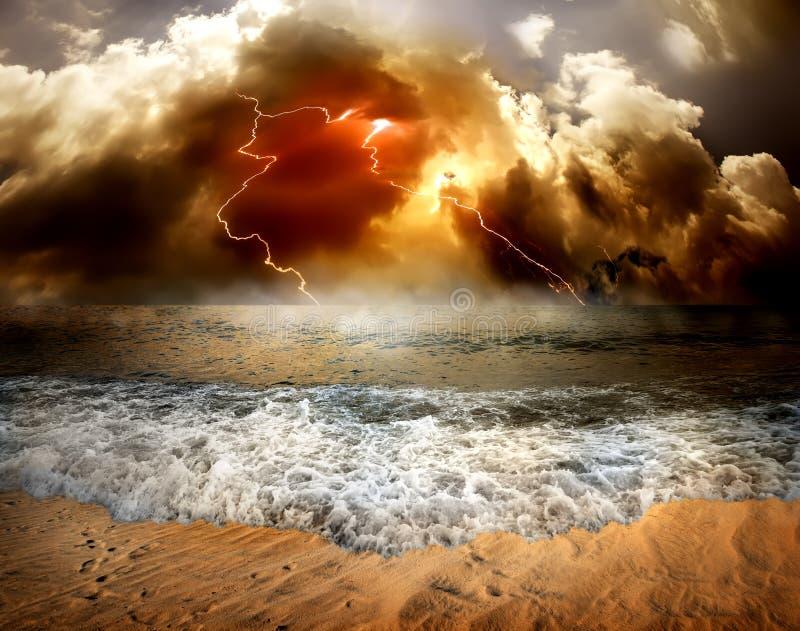 Lightning over sea stock image