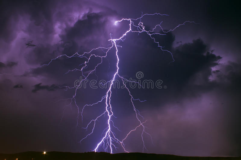 Lightning over the sky of Sibiu royalty free stock photography