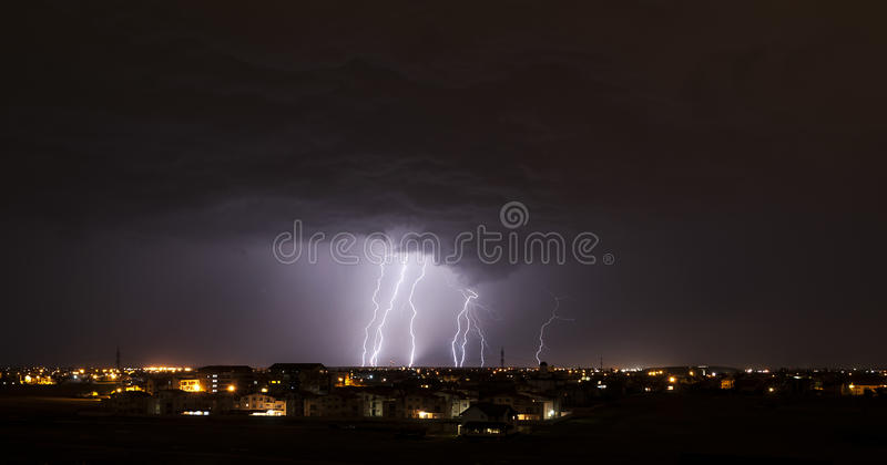 Download Lightning over small town stock image. Image of city - 31443297